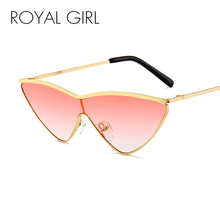 ROYAL GIRL Cute Sexy Cat Eye Sunglasses Women Metal Frame Vintage Triangle Gradient Lens Sun Glasses Female Shades UV400 SS680 triangle insert metal cat eye sunglasses