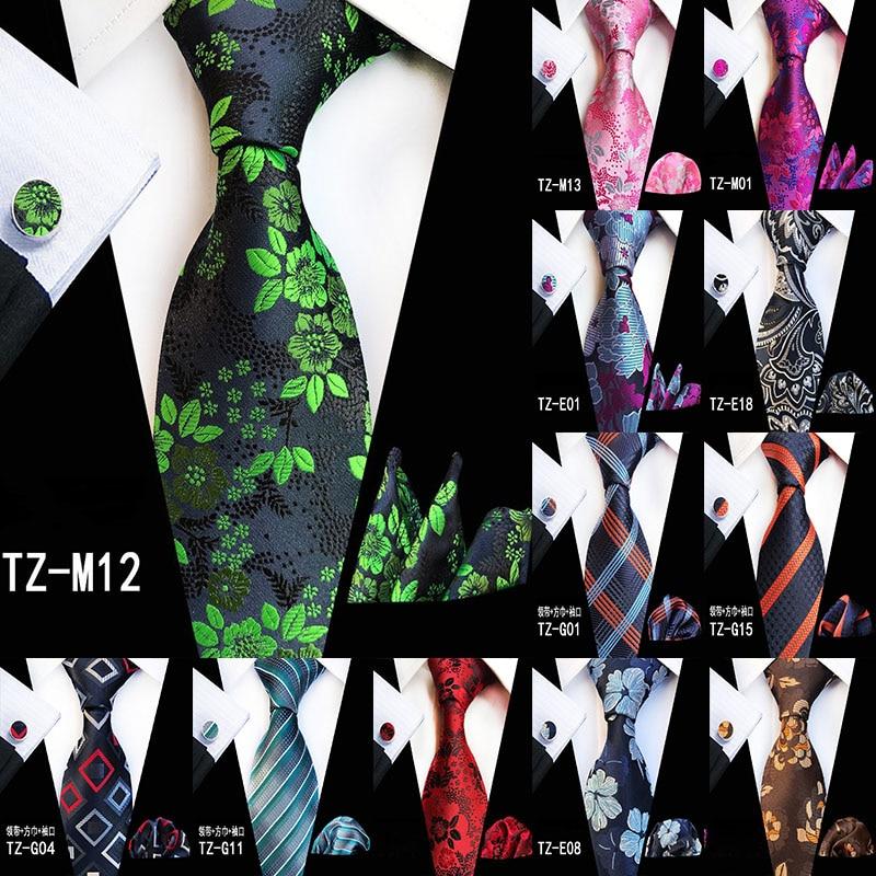 New Hot 20 Style Big Flower Floral Ties For Men Fashion Men's Tie Stropdas Pocket Square Hanky Cufflinks Three Three-piece Suit