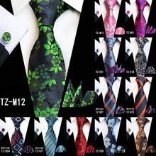 New Hot 20 Style Big Flower Floral Ties for Men Fashion Mens Tie Stropdas Pocket Square Hanky Cufflinks Three Three-piece Suit