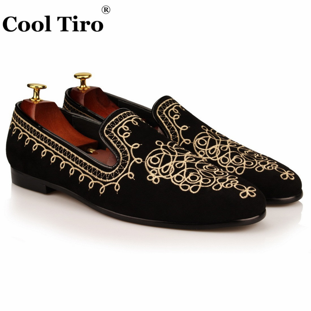 COOL TIRO 2016 Fashion Luxury Embroidey Suede Genuine Leather Men Loafers Smoking Slippers Men's Slip on Flats Party Shoes