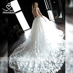 Image 2 - Swanskirt атласное свадебное платье с v образным вырезом 2020 Аппликации бальное платье бабочка свадебное платье Часовня Поезд размера плюс Vestido de novia HZ10