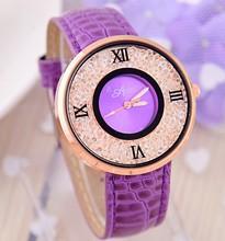 Crystal Analog Watches Ladies Casual relogio feminino 2016 New Women's Fashion Watch Best Selling Quartz Leather Wristwatch
