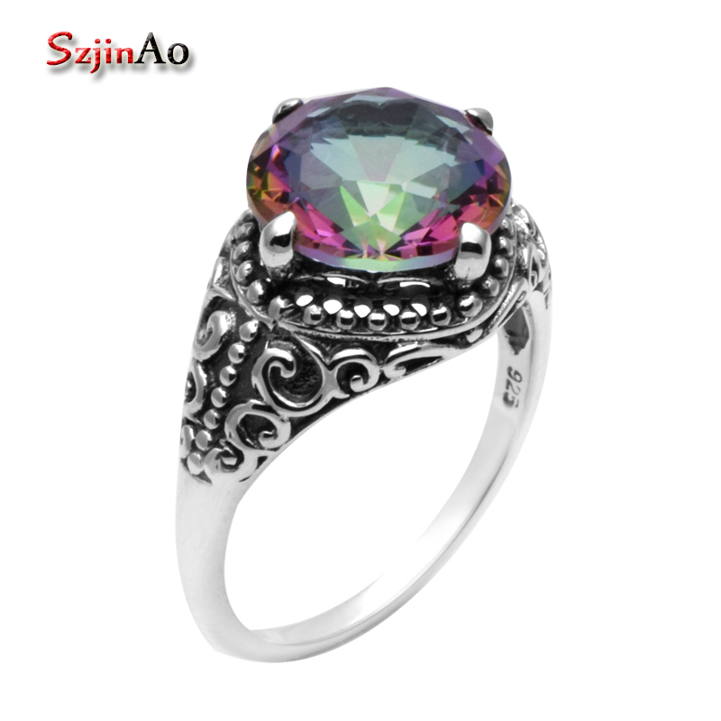 Szjinao Fashion Jewelry Rings for Women Real 925 Sterling Silver Flowers Antique Rainbow Topaz Luxury Brand Handmade Ring