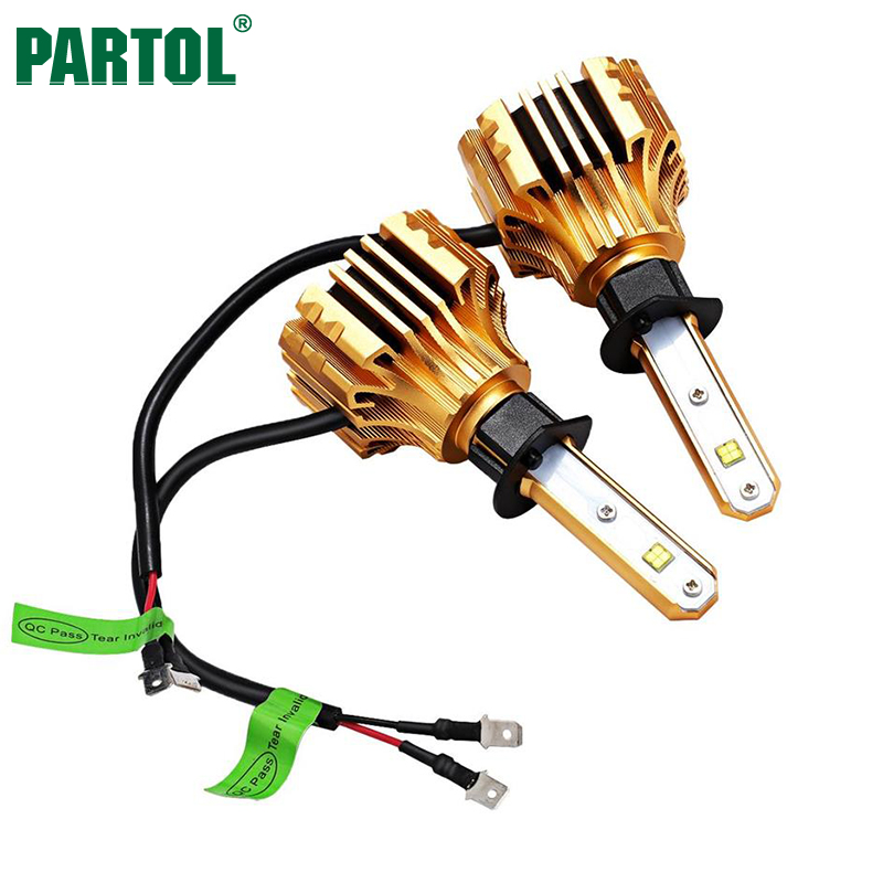 Partol S6 H1 Car LED Headlight Bulbs 70W 7000LM SMD Single Beam Automobile Headlamp Front Fog Lights 6500K 12V 24V