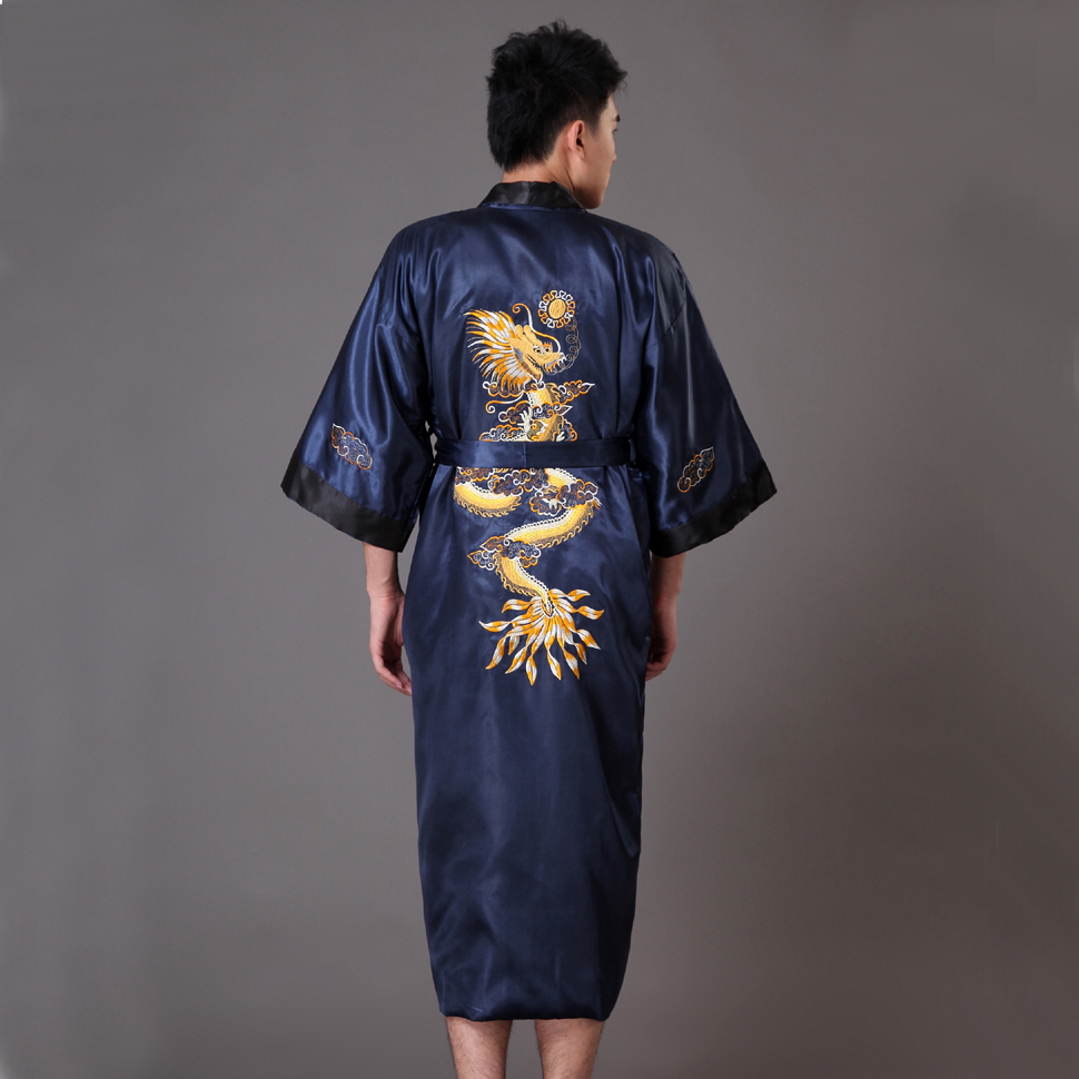 Black Navy Blue Reversible Men's Kimono Gown Chinese Male Two Side Satin Robe Embroidery Dragon Sleepwear Plus Size XXXL MP070