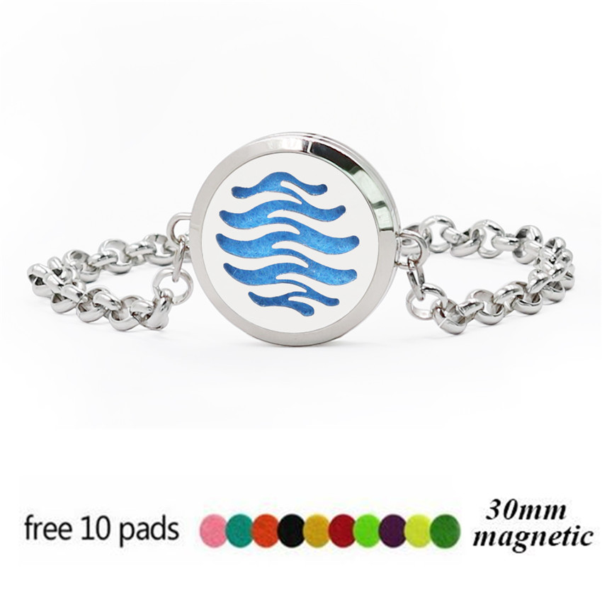 Ocean Wave Peace Dove 30mm Magnet Stainless Steel Essential oil Aromatherapy Perfume Diffuser Locket Chain Bracelet 10pcs Pads