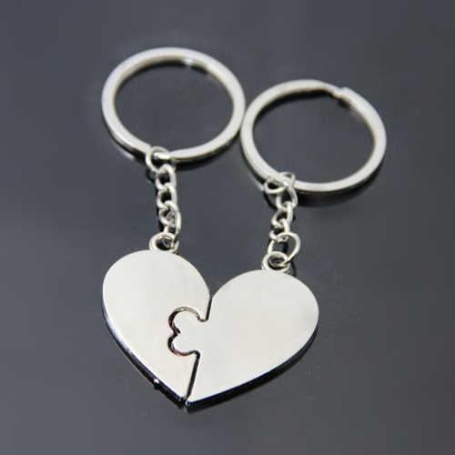 1 Par Eu Te Amo Beijo Coração do Anel Chave Keychain Keyfob Presente do Amante Casal Chaveiro 7DR2