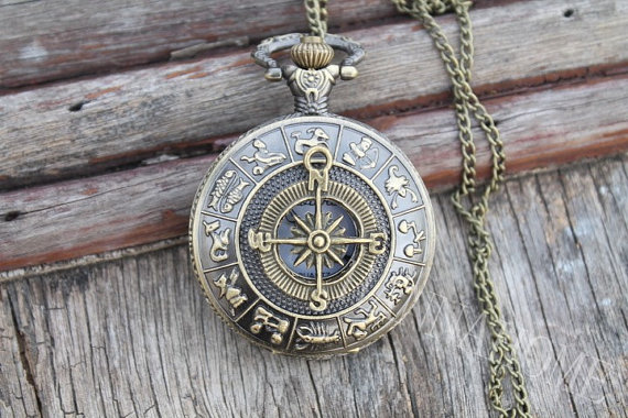 compass bronze pocket <font><b>watch</b></font> pendant long necklace chain quartz mens <font><b>big</b></font> size vintage best friends gift Pirates of the Caribbean image