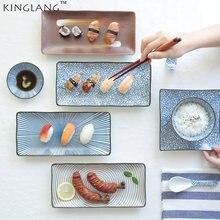 Японские белые и синие керамические длинные тарелки для суши