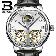 2017 NEW arrival men's watch luxury brand BINGER sapphire Water Resistant toubillon full steel Mechanical Wristwatches B-8607M-6