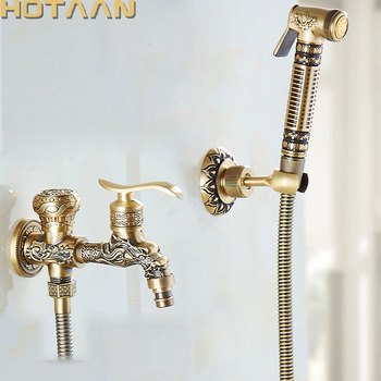 Wall Mounted Antique Brass Bidet Faucets Bathroom Shower Toilet Washing Machine Faucet Cold Water With Hand Shower Bracket Y5195