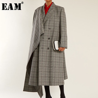 [EAM] 2019 новая осенне зимняя куртка с лацканами, с длинным рукавом, серая, клетчатая, асимметричная, свободная, длинная, особенная куртка, Женск