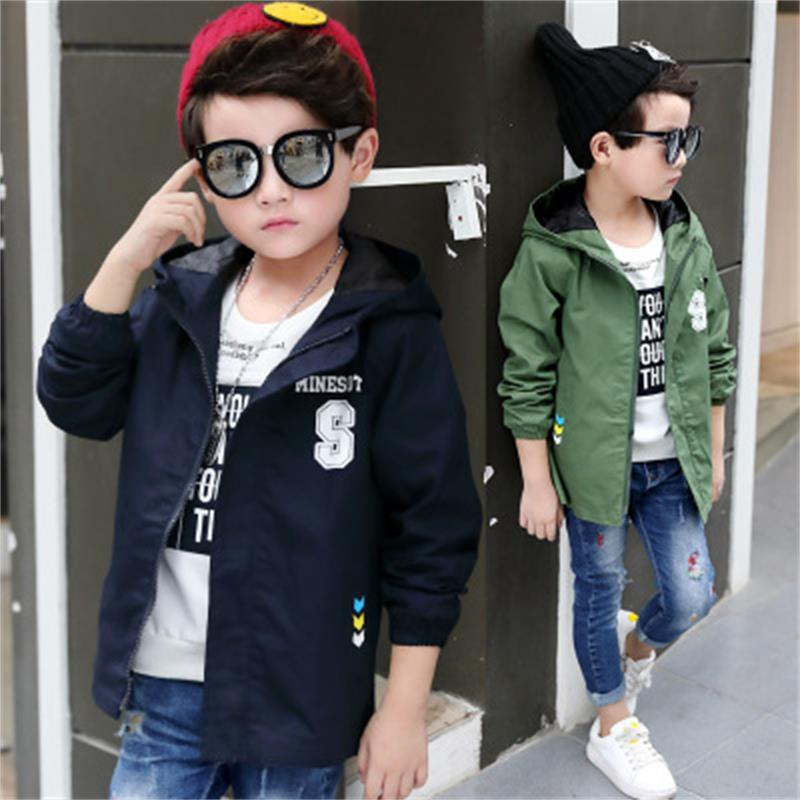 New children's clothing spring boy jacket children's windbreaker in the long section of the big boy Korean shirt boy spring|Trench| |  - title=