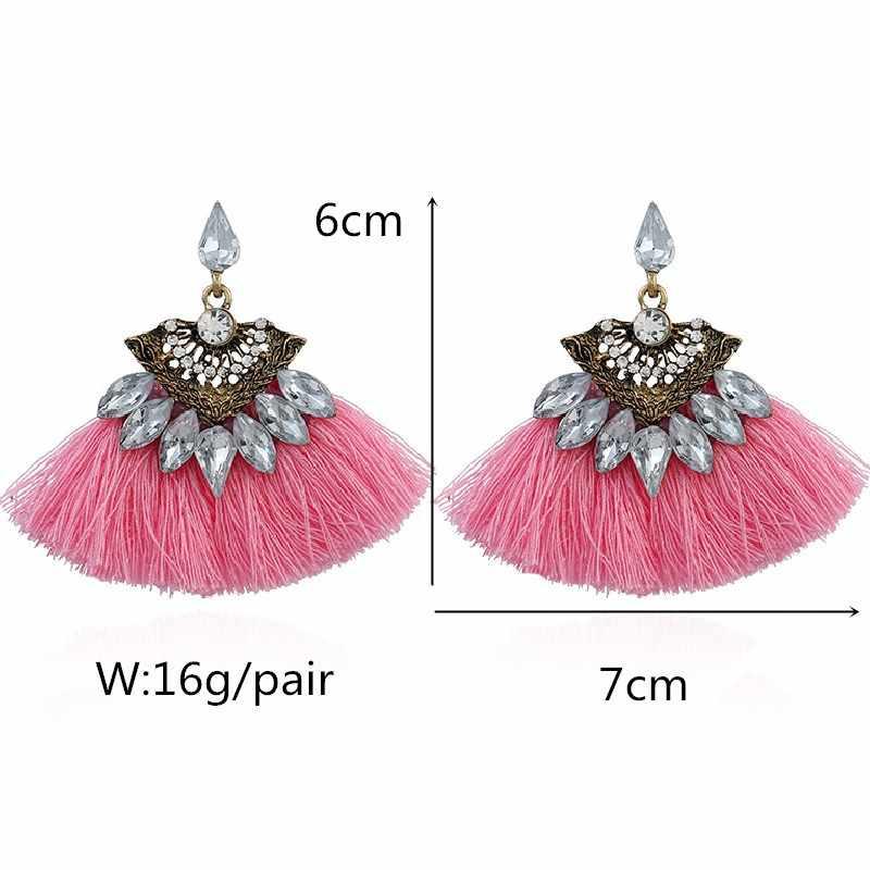Bohemia wiszące kolczyki kobiety różowy czerwony kryształ w kształcie wachlarza bawełna Handmade frędzle kolczyki z frędzlami biżuteria etniczna EK2159