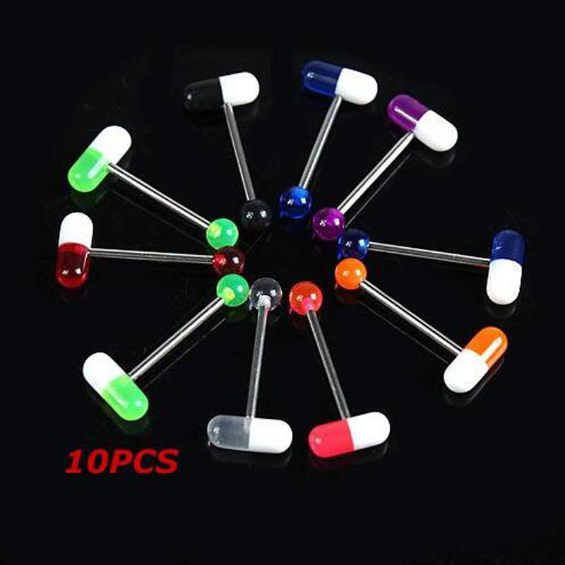1 Piece Unique Capsule Pills Design Acrylic Tragus  Piercing 1.4*19mm  Surgical Stainless Steel  Body Piercing Tongue Rings
