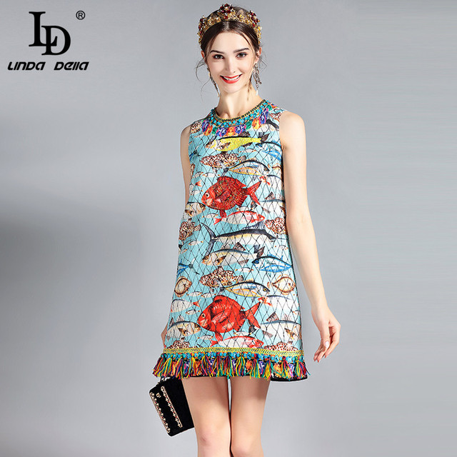 259c372aac746 US $42.49 15% OFF|LD LINDA DELLA New 2018 Fashion Runway Summer Dress  Women's Sleeveless Charming Seabed Fish Print Tassel Beading Elegant  Dress-in ...