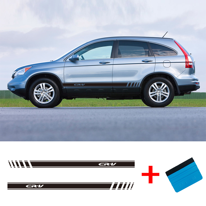 2 Sides CRV Vinyl Car Van Styling Side Stripes Sticker Vehicle Auto Decals Wraps Body Graphics For Honda CR-V
