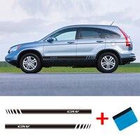 Otomobiller ve Motosikletler'ten Araba Çıkartmaları'de 2 tarafı CRV vinil araba Van Styling yan çizgili Sticker araç oto çıkartmaları sarar vücut grafik Honda CR V