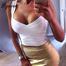 Bqueen 2019 New Sexy Elastic Spaghetti Strap Bandage Top Women Crops Tops For Summer Stretch V-Neck Tight Lady Camis Vest(China)