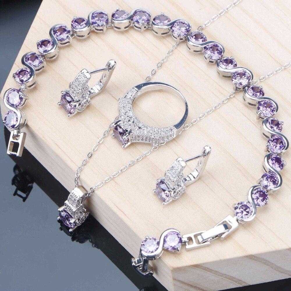 3967d1613290 Púrpura Cubic Zirconia conjuntos de joyas de boda joyas de plata 925  pulsera anillo pendientes collar Conjunto para las mujeres joyería de moda