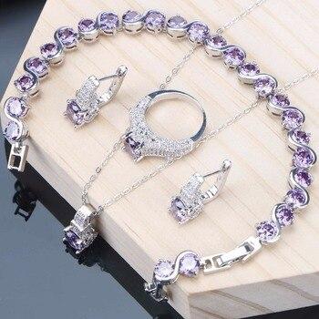 82c3fea0664a Púrpura Cubic Zirconia conjuntos de joyas de boda joyas de plata 925  pulsera anillo pendientes collar Conjunto para las mujeres personalizado  joyería