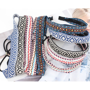 Wholesale Ethnic Ribbon Soft Lovers Thin Embroidery Headwear For Women Good Quality Elastic Non-slip Yoga Beach Hair Accessories good quality wholesale