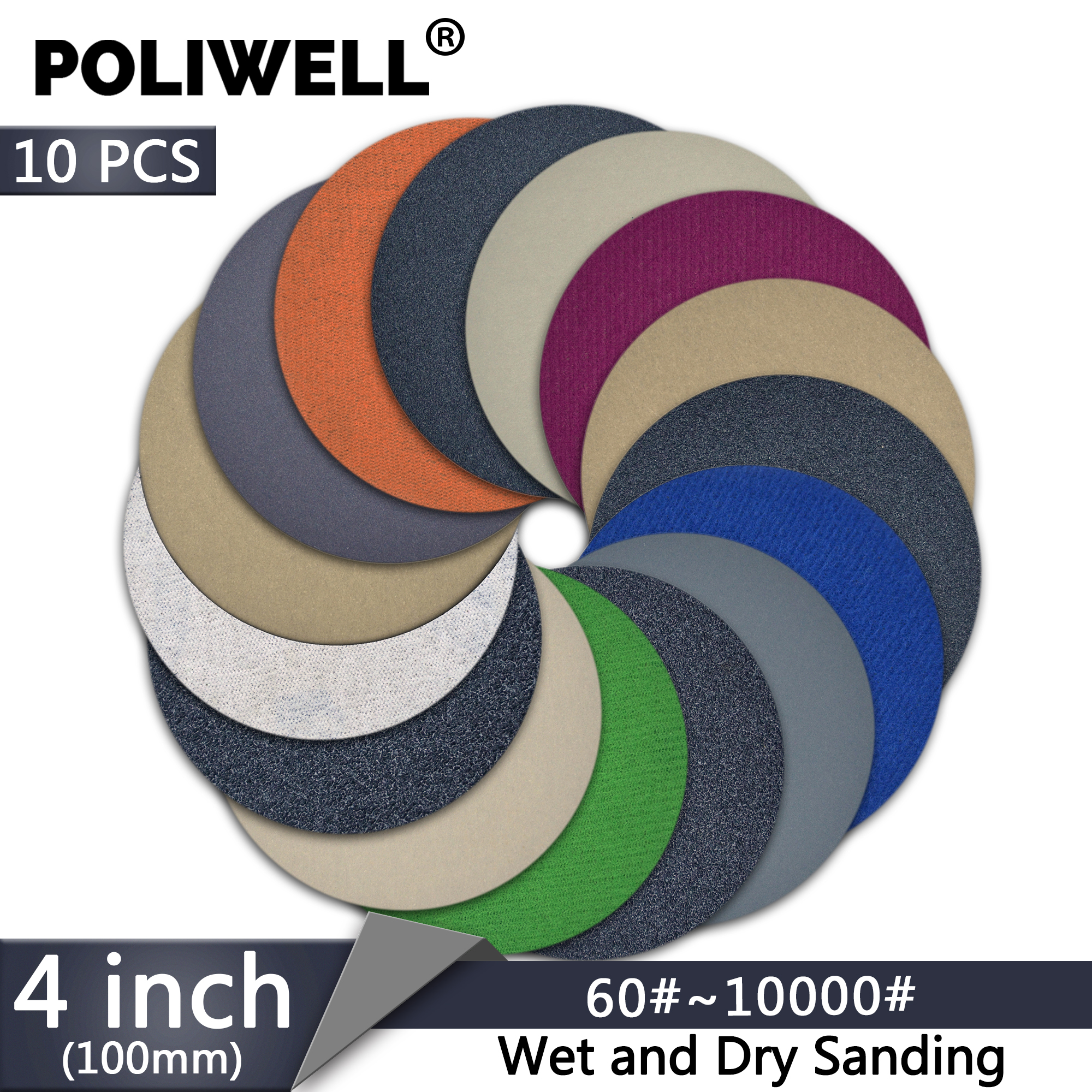 POLIWELL 10PCS 4 Inch Grit 60 1000 3000 5000 Wet Sanding Discs 100mm Silicon Carbide Round Sanding Paper Sandpaper Car Sanding