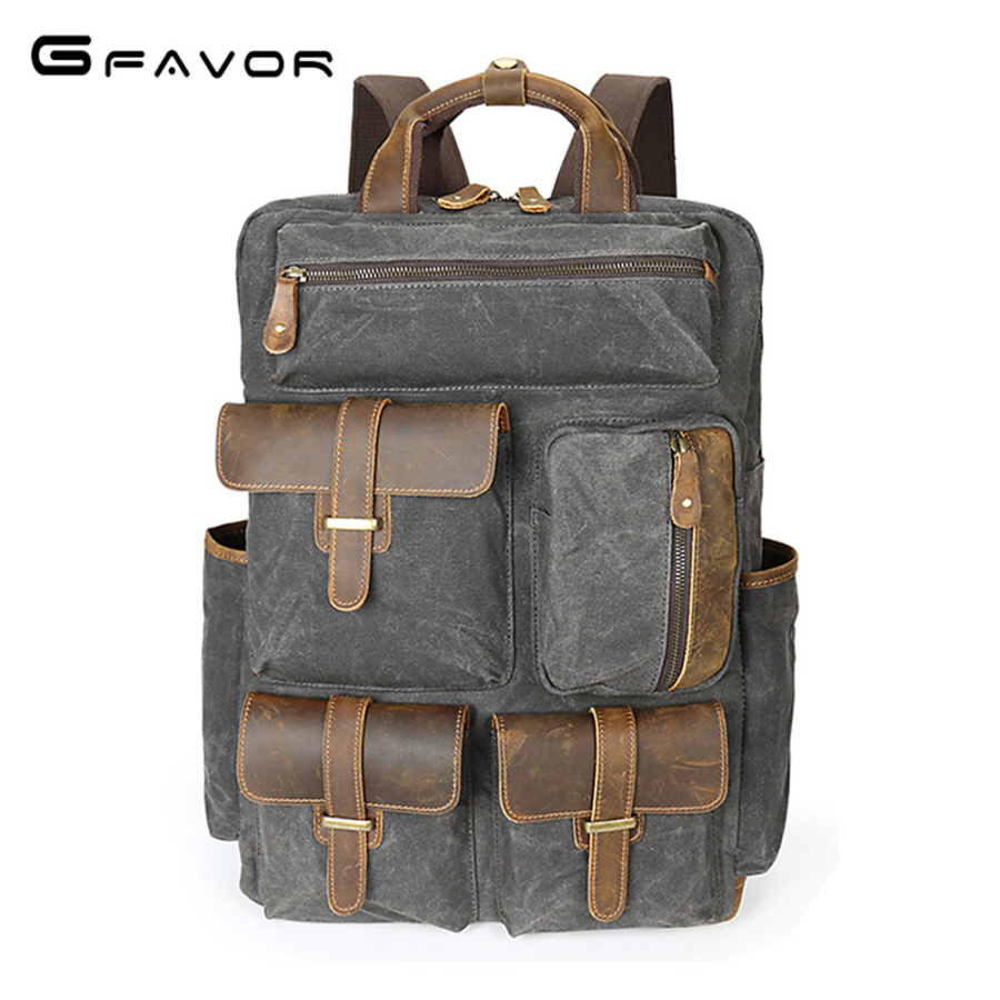 G-FAVOR Large Capacity Travel Shoulder Bag Men Canvas&Crazy Horse Leather Vintage Laptop Backpack Waterproof Military Mens Bags men s casual bags vintage canvas school backpack male designer military shoulder travel bag large capacity laptop backpack h002