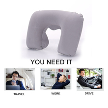 U-shape Pillow Neck U Inflatable Travel Cushion Shaped Rest Head Air Soft Support