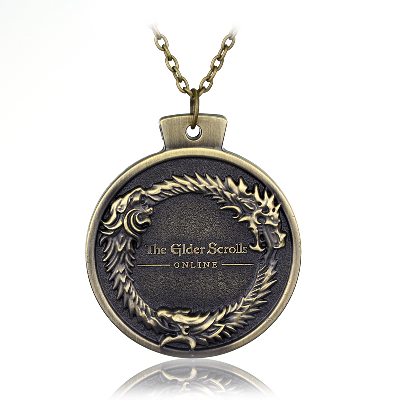 ONLINE Game THE ELDER SCROLLS OUROBOROS PENDANT NECKLACE TES Skyrim Bronze Necklace