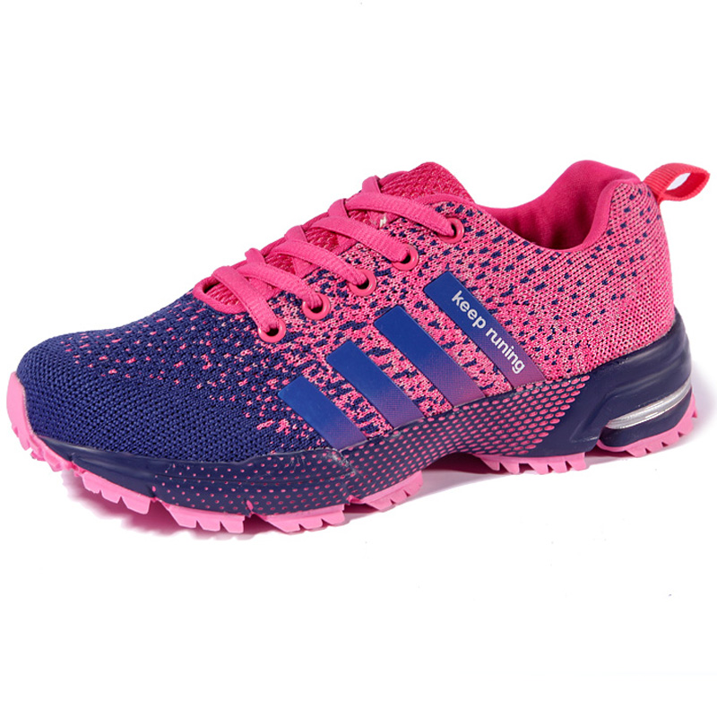 TEELONG Womens Girls Outdoor Mesh Sports Shoes Casual Lace-up Breathable Runing Shoes Lightweight Sneakers Orange,Pink,Hot Pink Size 4 5 6 UK