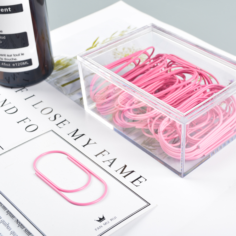 TUTU Free Shipping Factory Supply 50pcs 50x20mm Large Size Pink Paper Clips Large Wide Paper Clips On Promotion H0226