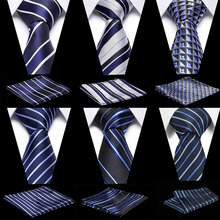 2019 Designer Ties For Men 50 Styles Blue Fashion Woven Neckties Hanky  s Set Wedding Party Tie for wedding party