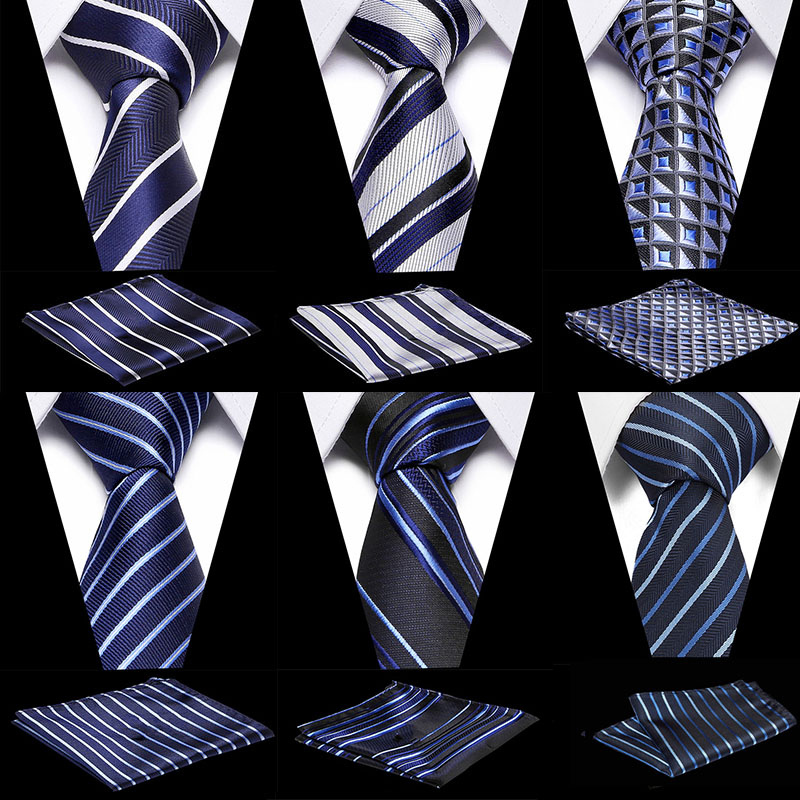 2020 Designer Ties For Men 50 Styles Blue Fashion Woven Neckties Hanky s Set For Wedding Party Tie Set for wedding party