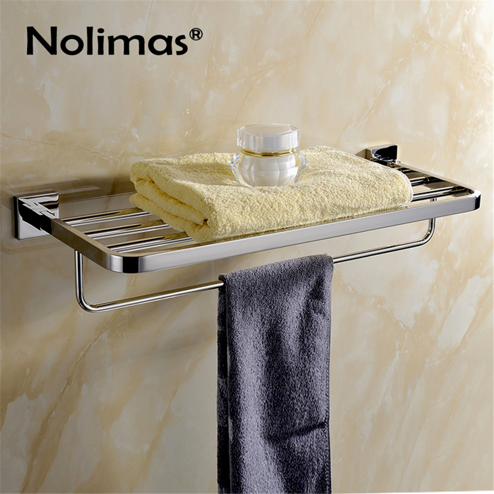 SUS304 Stainless Steel Bathroom Rowel Rack Mirror Polished Square Hardware Towel Shelf Towel Holder sus304 stainless steel mirror 60cm single towel bar towel rail holder stainless steel construction sm020 water sa