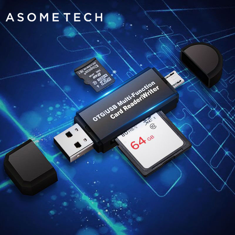 Universal High-speed 2 In 1 USB 2.0 OTG Card Reader Flash Drive USB OTG TF/SD Card For Android Phone Computer PC Extension Port