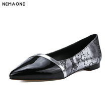 NEMAONE Fashion spring autumn ladies single shoes pointed toe square heel mixed colors women genuine leather low heels shoes