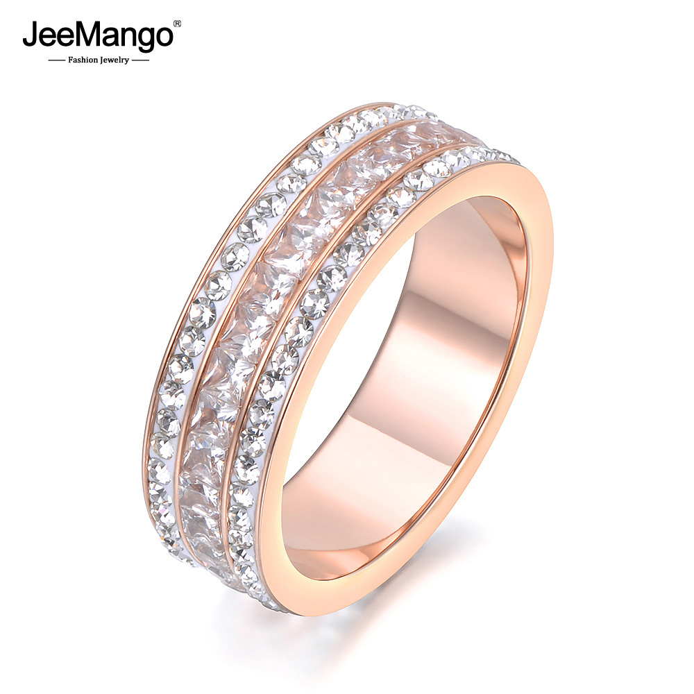 Modest Jeemango Fashion Jewelry Rose Gold Color 3 Rows Cz Ring White Clay Crystals & Aaa Zircon Stainless Steel Ring 6mm Width Jr18132 High Quality Jewelry & Accessories