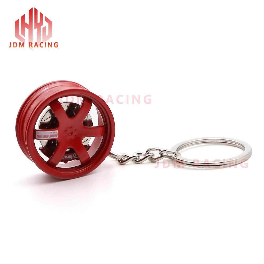 Hot Racing Te37 ออกแบบ Rims ล้อกระจกจี้พวงกุญแจพวงกุญแจ Key Chain TE37 อลูมิเนียมล้อด้านหลังเบรคแผ่น