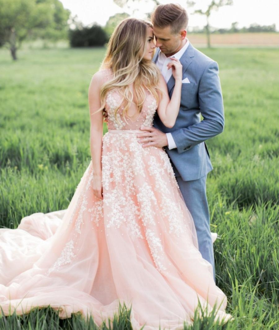 Blush Pink Wedding Gowns: Romantic Blush Pink Ball Gown Wedding Dresses 2017 Lace