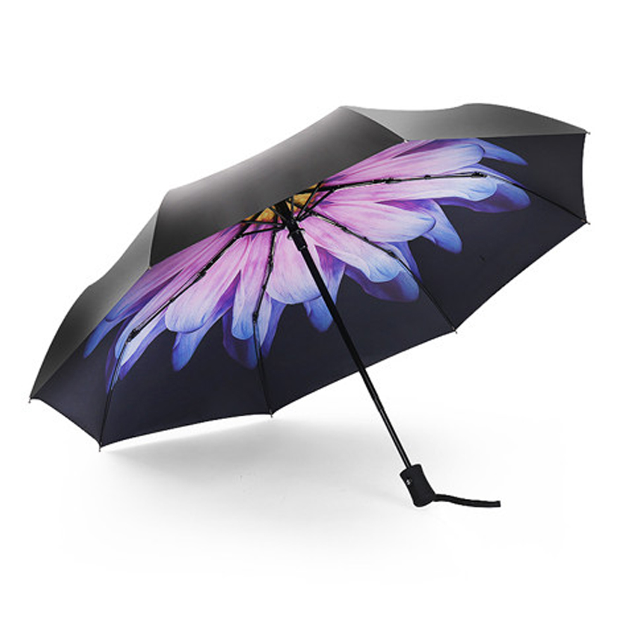 Fashion 3 Fold Automatic Women Umbrella Sun Rain Anti-UV Windproof Male  Umbrella Black Ultra-light Mini Umbrella Parasol aa207d0f4d1