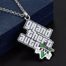 Mqchun clássico jogo gta colar grand theft auto pingente colar para fãs v logotipo colar pingente de declaração corrente