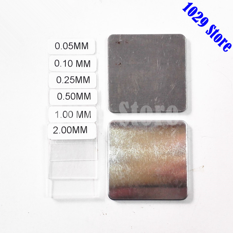 Aluminum Iron Calibration plates set with 6 pcs Coating thickness films for Coating thickness gauge GM200 calibration zero plate substrate standard foil set coating thickness gauge meter