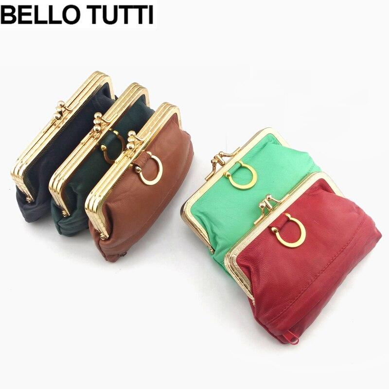 BELLO TUTTI Womens Mini Coin Purse Genuine Leather Original Design Wallet For Lady Metal Hasp Change Purse Casual Bag