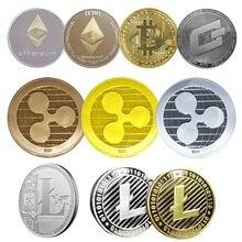 Pièces de collection, 5 types de pièces commémoratives, Bitcoin Ethereum/Litecoin/Dash/Ripple
