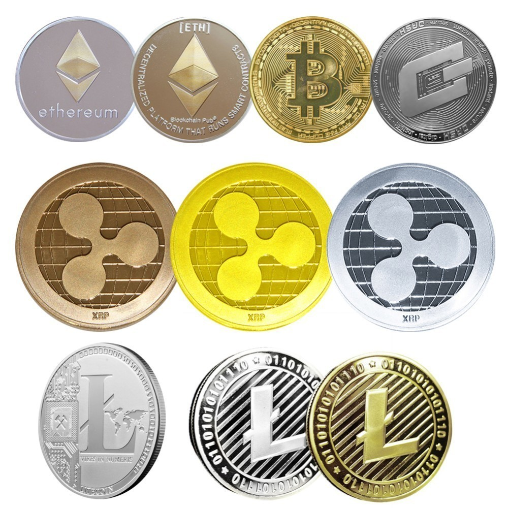 Non-currency Coins Bitcoin Ethereum/Litecoin/Dash/Ripple Coin 5 kinds of Commemorative Coin Drop Shipping