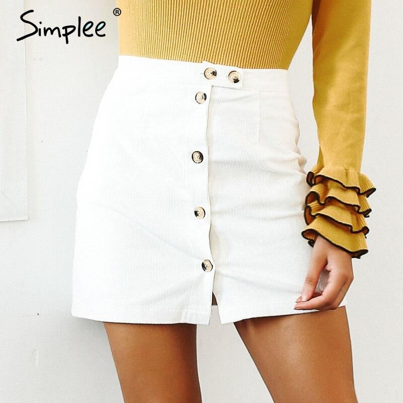 Simplee A-line front buttom mini skirt High waist bodycon pencil skirt streetwear Autumn winter women 2018 casual skirts vintage