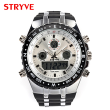 Male wristwatches Stryve mens watches hot Digital Quartz Dual Movement Watches Men 3ATM Waterproof Men #8217 s Wristwatches Military cheap Quartz Wristwatches S8002 Complete Calendar Week Display Water Resistant Alarm Dual Display Alloy ROUND Glass 3Bar Fashion Casual