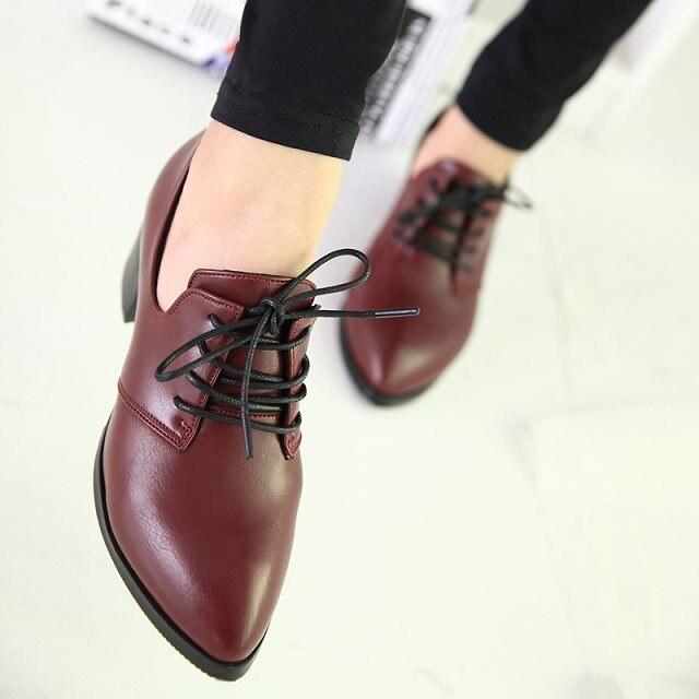 75aef515d9 Sapatos de salto grosso lacing sapatos único boca rasa bico fino elegante  ol pequeno couro em Oxfords de Sapatos no AliExpress.com