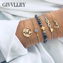 GIVVLLRY Elegant Gray Beads Bracelets Bohemian Creative World Map Turtle Love Heart Infinity Charm Bracelets Set Fashion Jewelry